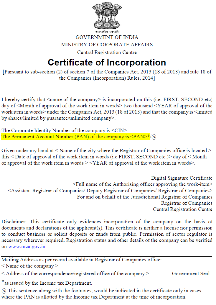 company certificate of incorporation with permanent account number