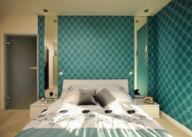 Dormitorio decorado con turquesa
