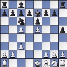 Posición de la partida de ajedrez Benrstein contra Pomar, 1949, 11... Rxe7