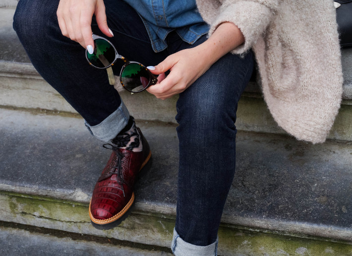 Outfit: cuffed denim, floral socks and burgundy brogues