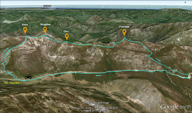 Ruta señalizada al Pico Xexe, Nogales, Oso y Fuentes desde el Puerto de Vegarada.