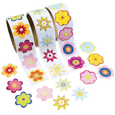 Rolls of Daisy stickers for Girl Scout Daisy crafts