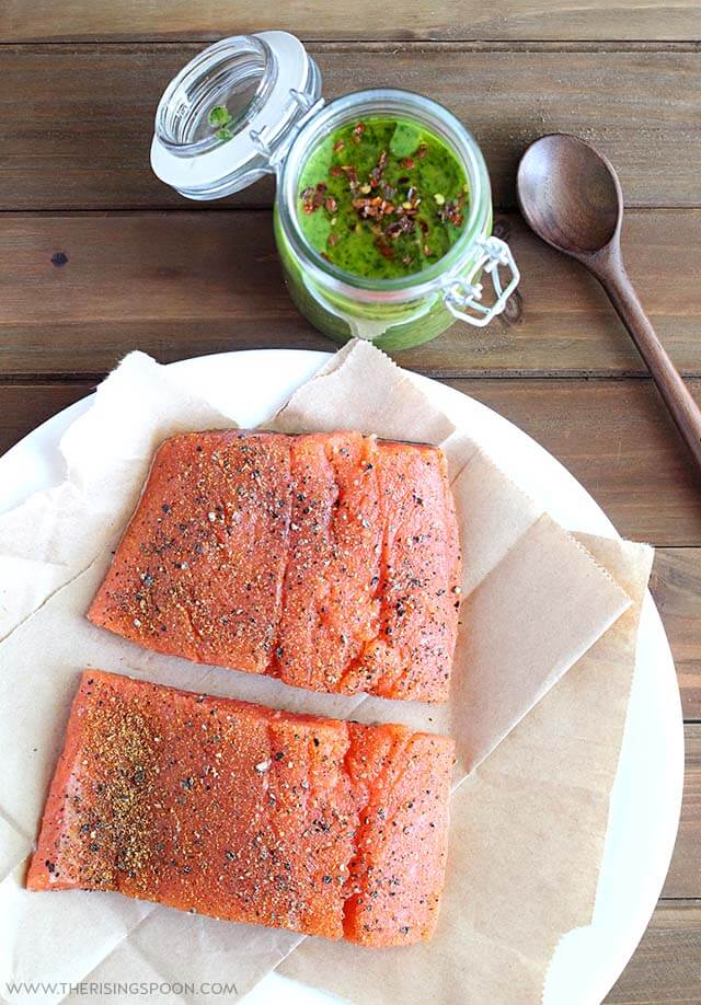 Seasoned Salmon Fillets For Pan-Searing & Topping with Chimichurri Sauce