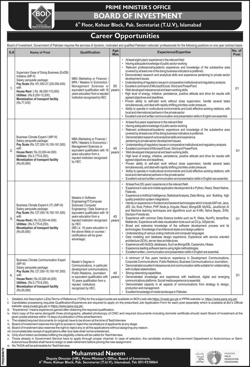 Prime Minister Office Islamabad Jobs January 2020