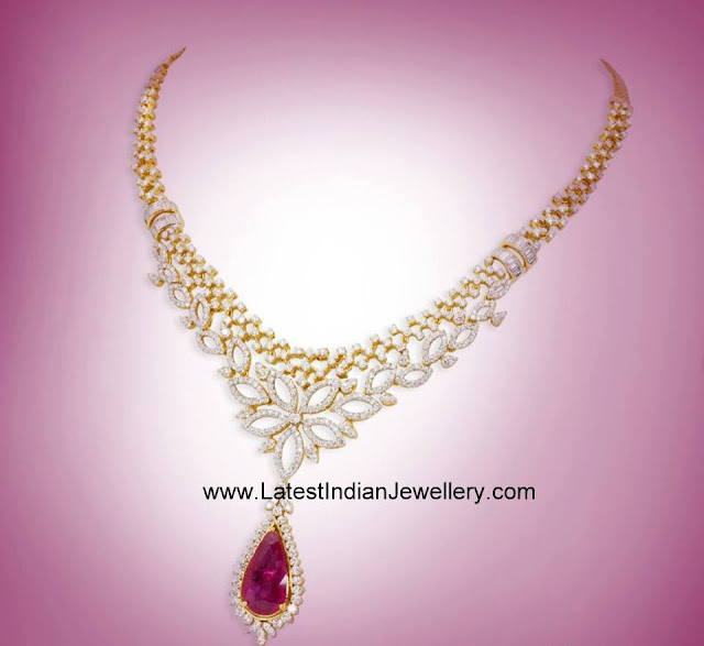 Ruby Drop GRT Diamond Necklace