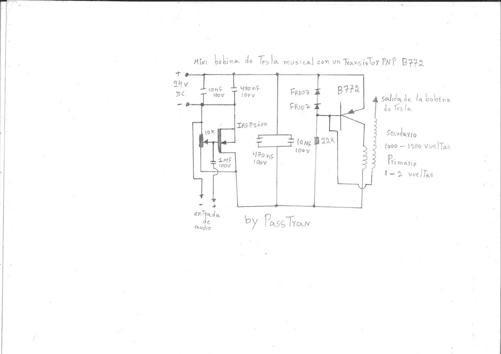 Circuito Bobina De Tesla : Ponyelectronica como hacer una mini bobina de tesla musical