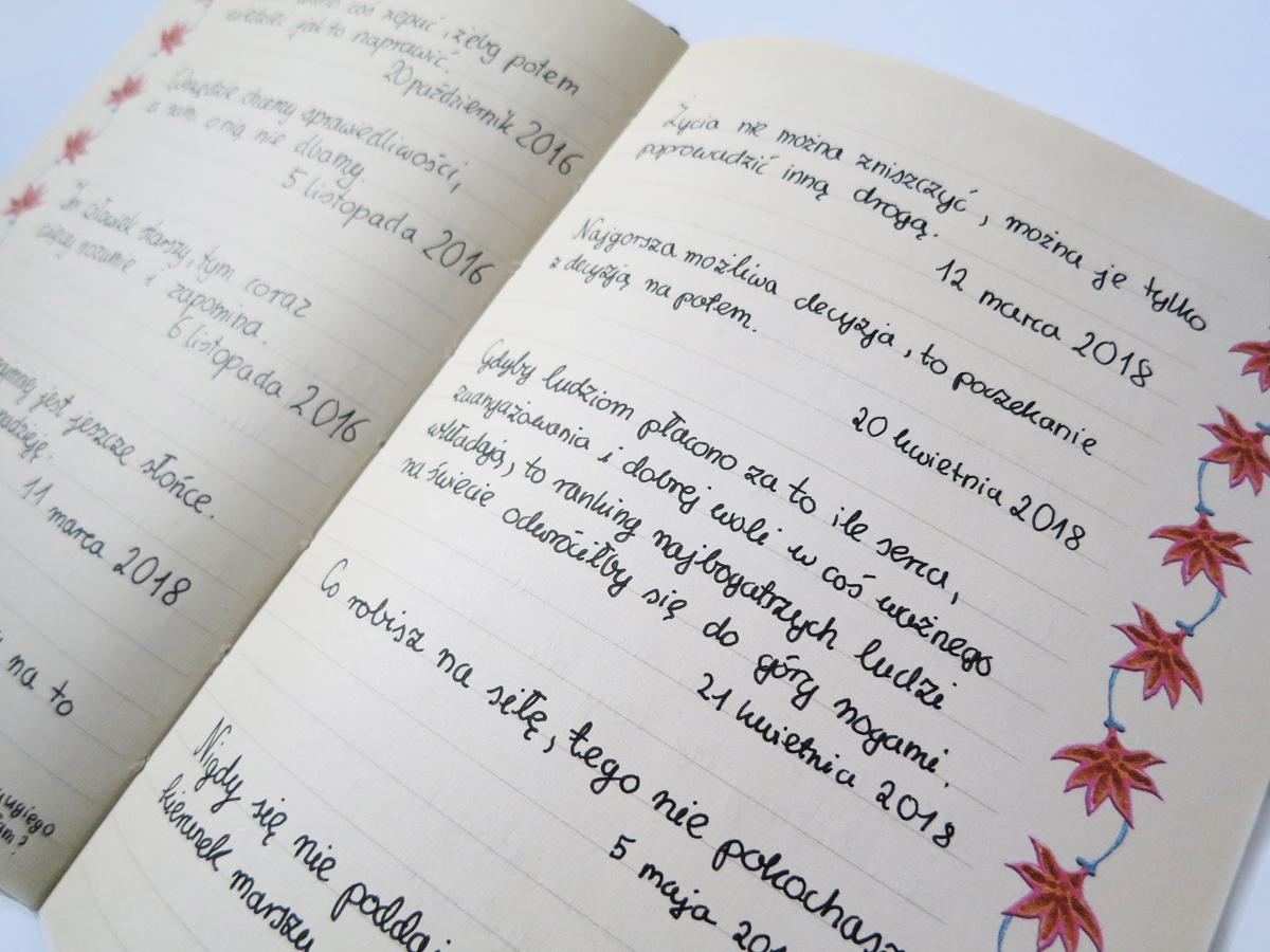 Złoty myśli i cytaty - wykorzystanie zeszytu