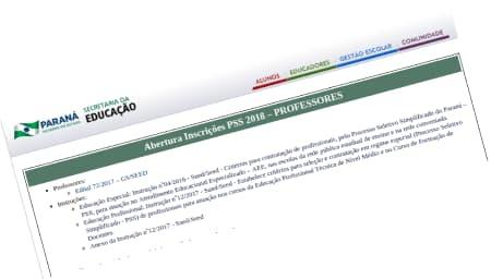 PARANÁ Abertura de Inscrições PSS 2018 - Professores