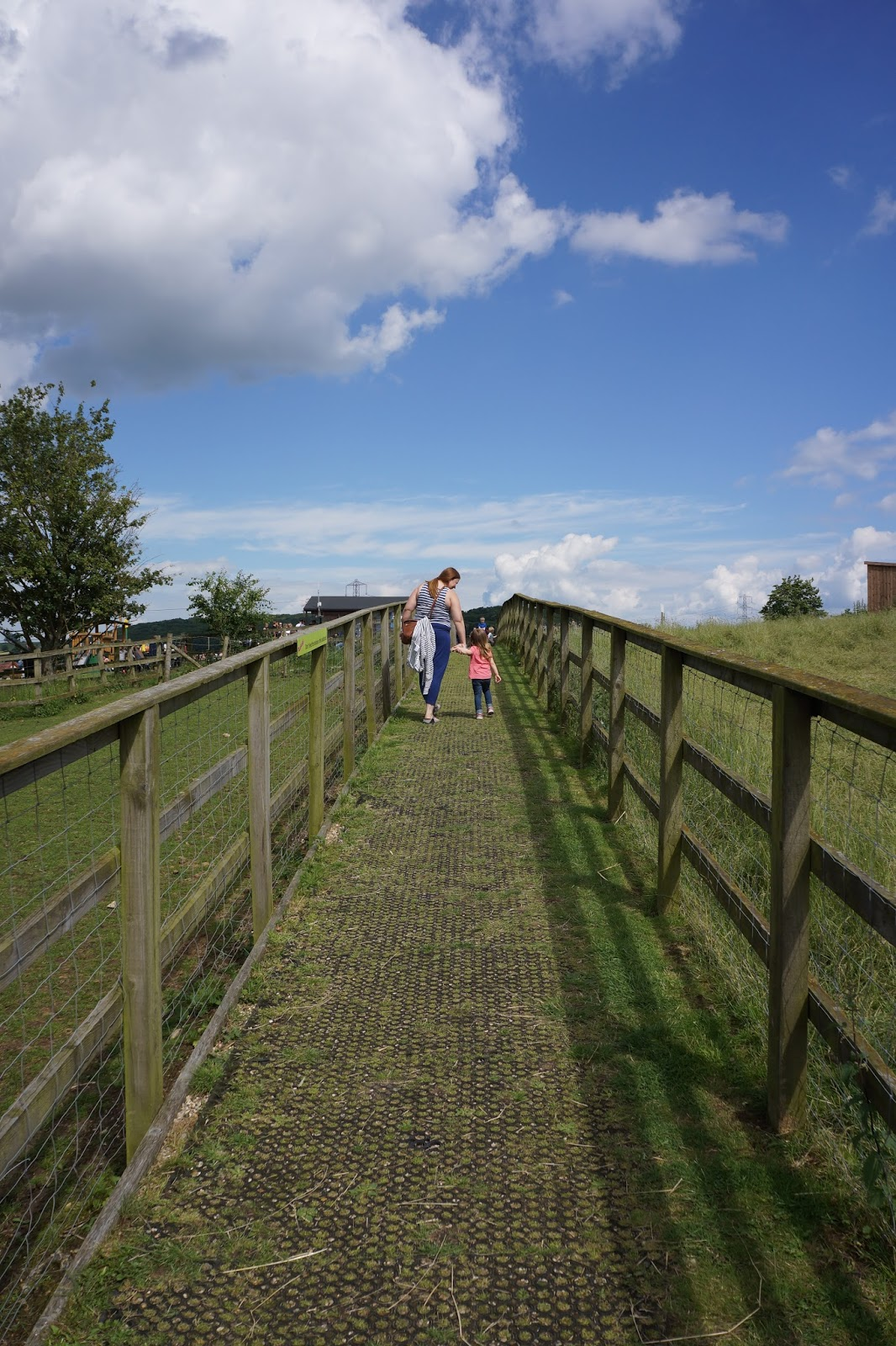 mum walking with toddler at lee valley park farm