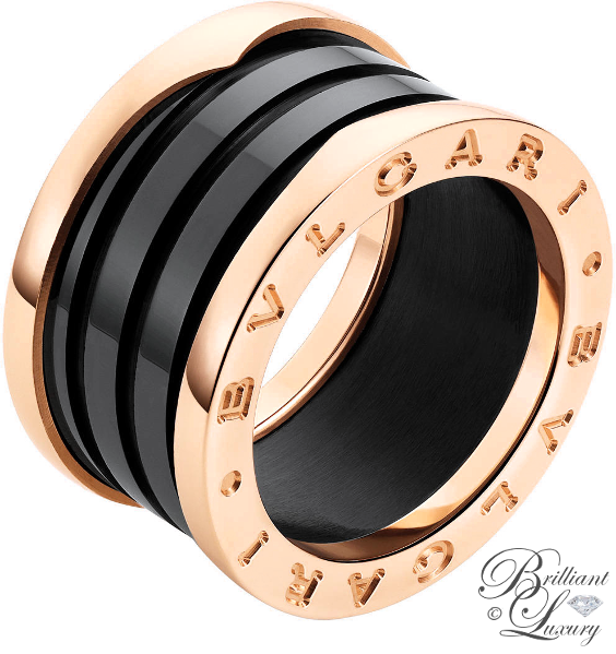Brilliant Luxury ♦ Bvlgari B.Zero1 4-band 18 kt rose gold ring with black ceramic