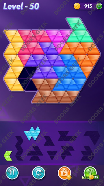 Block! Triangle Puzzle 9 Mania Level 50 Solution, Cheats, Walkthrough for Android, iPhone, iPad and iPod