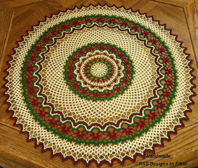 Holiday Red Flower Lace Table Topper - Red and Green - Handmade-To-Order By RSS Designs In Fiber