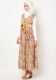 Dress muslim motif batik trendy dan casual