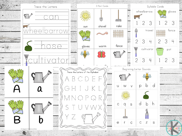 spring garden alphabet letters, tracing letters, syllables, etc.