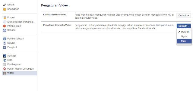 Cara Menon-aktifkan Putar Otomatis Video Facebook
