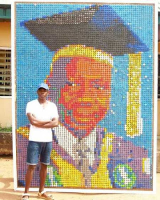 UNIBEN Student Creates a Portrait of His Vice Chancellor With 6000 Bottle Covers