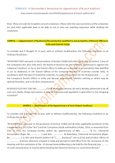 resolution for appointment of branch auditor