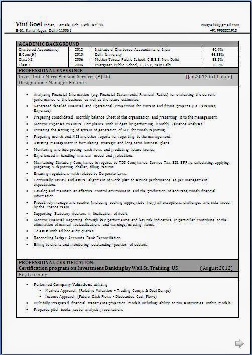 Professional Resume Format For Accounts Manager | Best | Resume ...