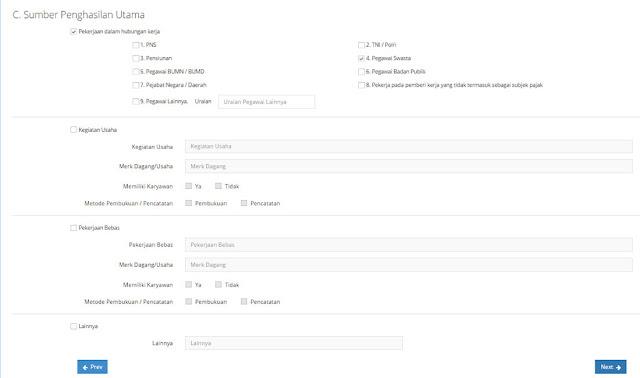 Form Penghasilan - Cara Membuat dan Daftar NPWP Online 2017