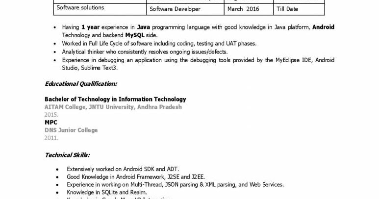 java developer resume - experience download now