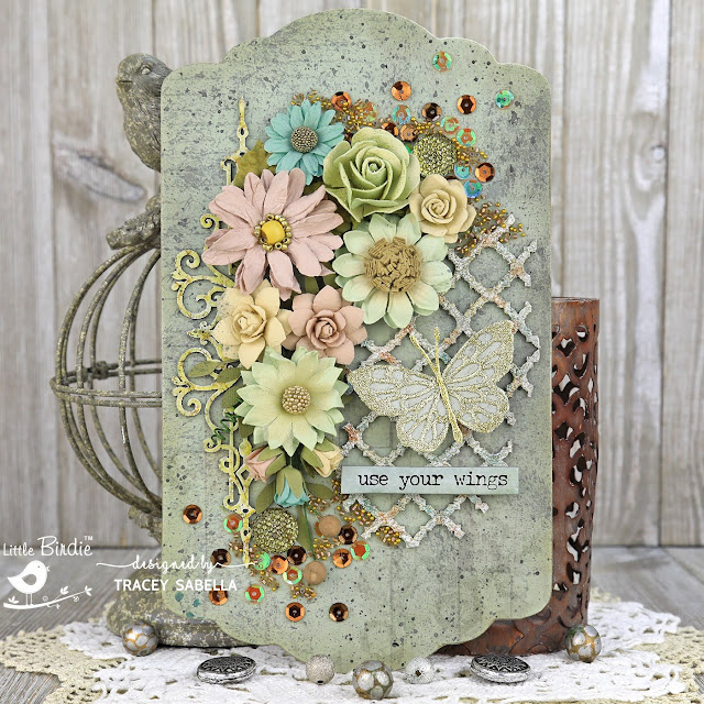 """Use Your Wings"" Home Decor Wall Hanging by Tracey Sabella for Little Birdie Crafts:  #traceysabella #littlebirdiecrafts #littlebirdieonline #littlebirdieflowers #RangerInk  #SethApter #diy #diyhomedecor #mixedmedia #chipboard #heatembossing #handcrafted #handmade #glitter #butterfly #wings"