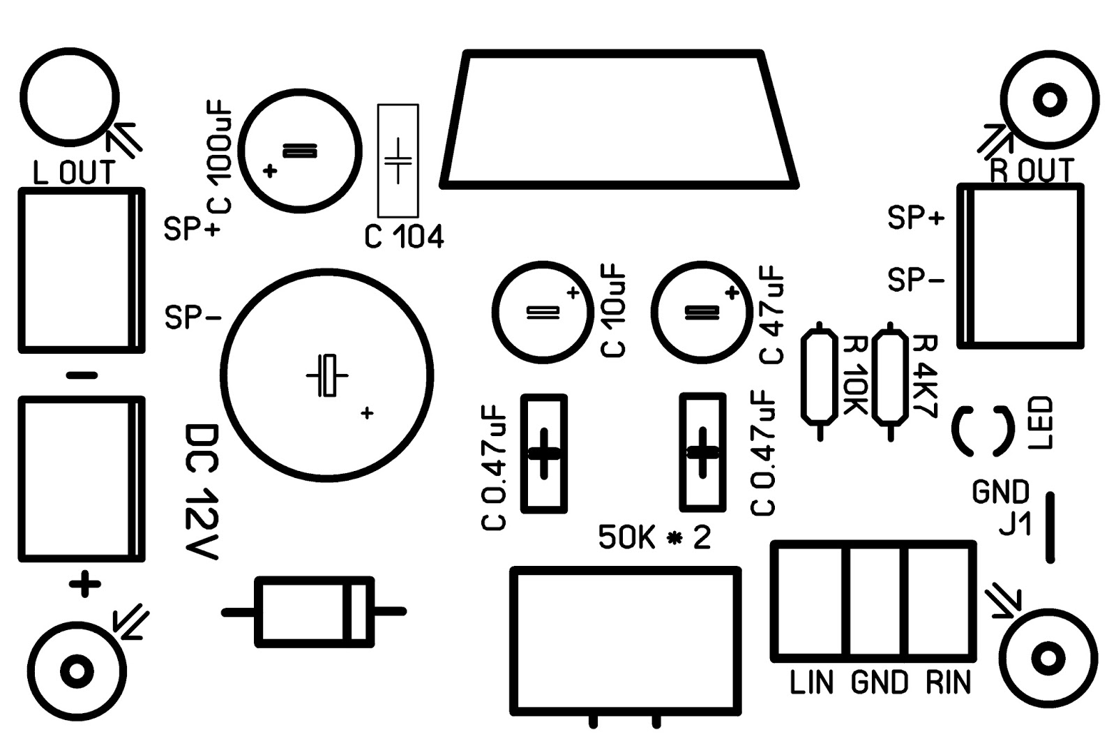 hight resolution of connection diagram tda7377 pcb