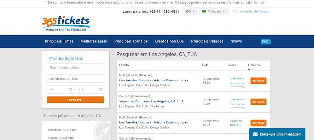 Site para a compra de ingressos de jogos da NBA em Los Angeles