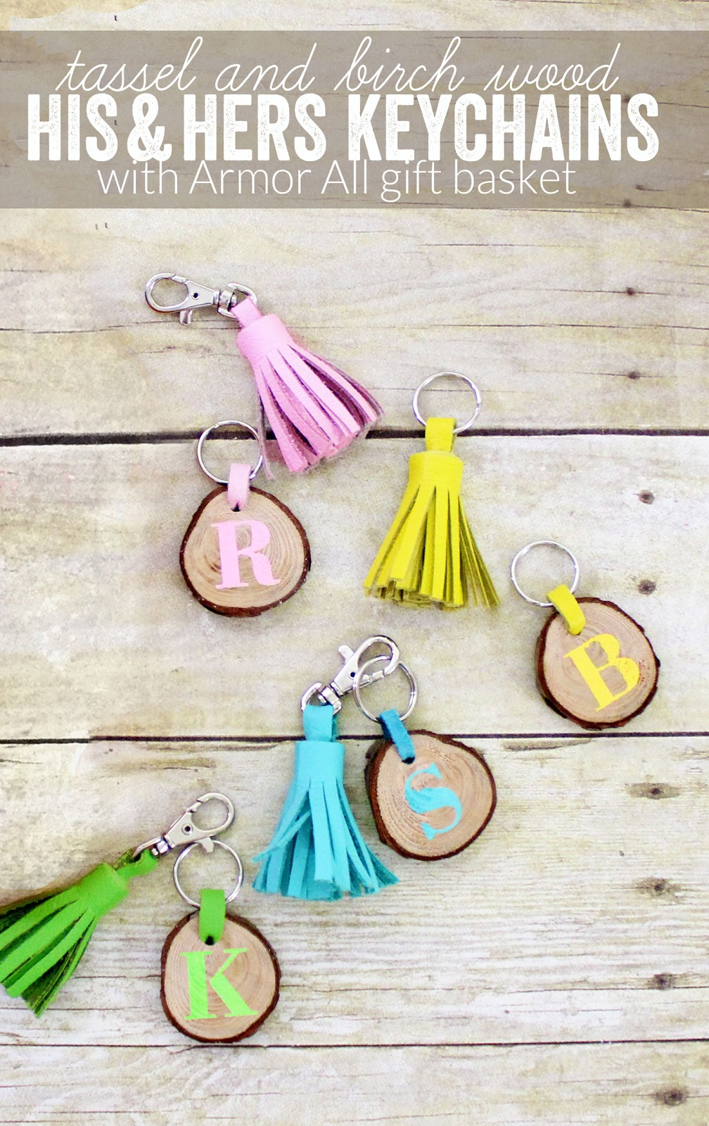 Matching his and hers tassel and birch wood slice monogrammed personalized keychains.