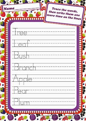 fruit berries handwriting worksheet
