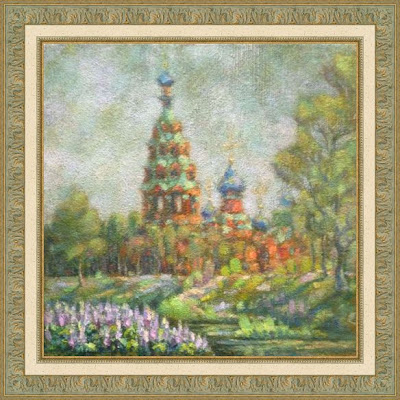 Paintings by Ivan Krutoyarov. Church of the Cover of the Mother of God in Cherkizovo. Temple, river, flowers, sunshine, joy, bright painting, impressionism