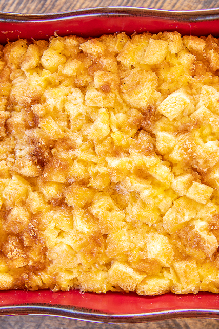 Pineapple Casserole - one of our favorite side dishes! I took this to a potluck and everyone raved about this easy casserole. Only 7 ingredients - crushed pineapple, sugar, eggs, lemon juice, nutmeg, butter, and bread cubes. Sprinkle top with some brown sugar if desired.SO easy and SO delicious! Great for potlucks and the holidays! Everyone always asks for the recipe. #casserole #pineapple #easter #sidedish