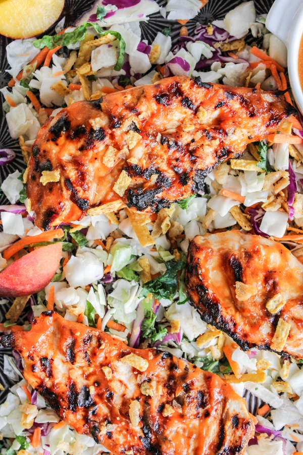 Simple grilled chicken gets a boost of flavor with an easy homemade peach barbecue sauce. Perfect for weeknight dinner, it's a meal the whole family will love!