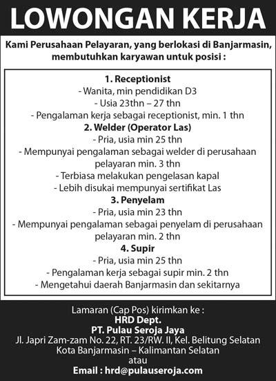 Lowongan Pekerjaan Di Wilayah Banjarmasin 2013 Info Terbaru 2016 Info Harian Terbaru Lowongan Pekerjaan Terbaru Wilayah Kalimantan Selatan Banjarmasin