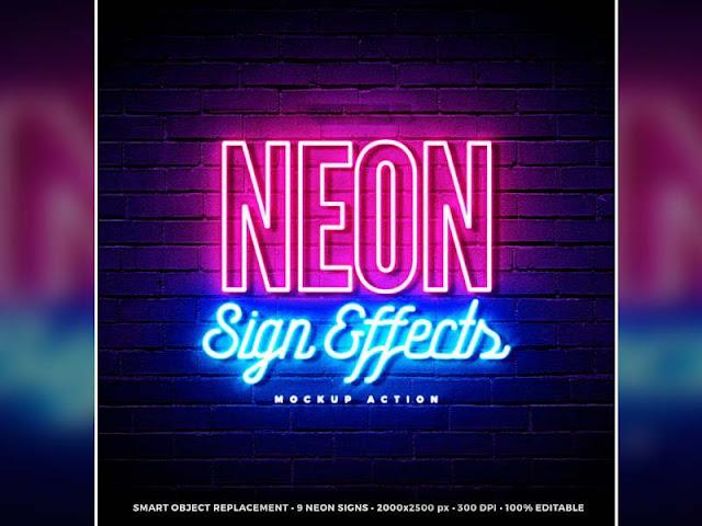 Free 09 Neon Sign Effects PSD Files Premium Pack - StudioPk