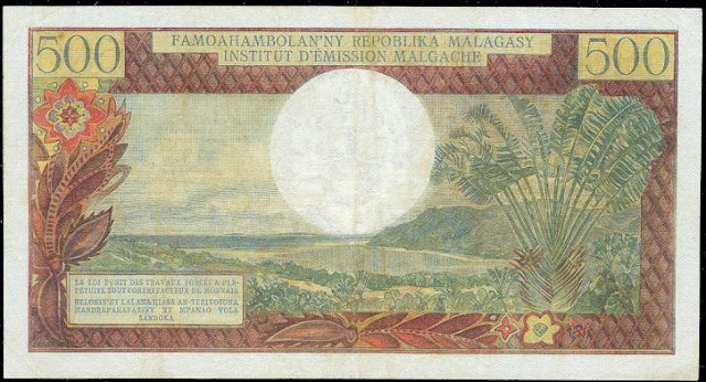 Madagascar currency 500 Francs banknote Malagasy bank notes