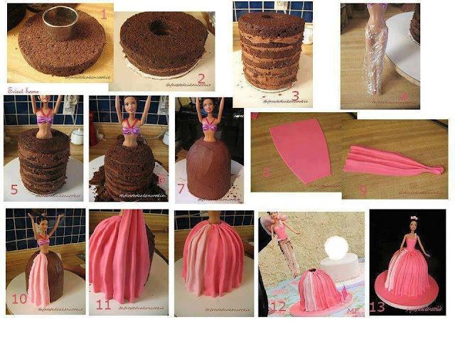 como fazer bolo boneca barbie