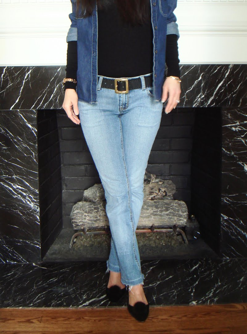 Denim On Denim Outfit - showing lower body