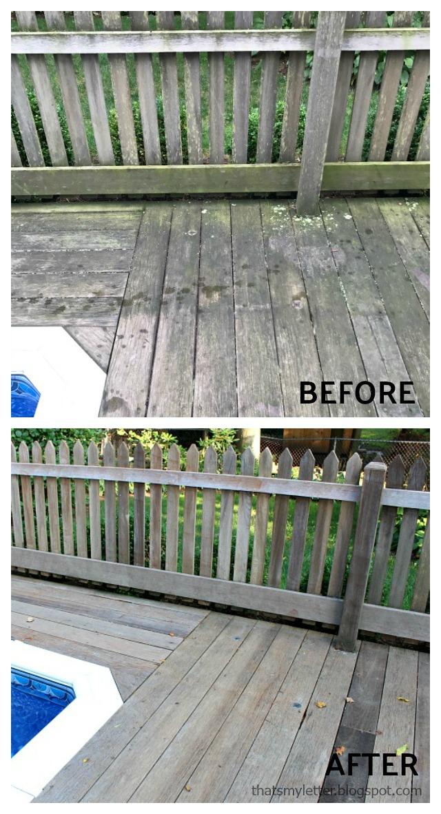 pressure washing wood deck before after corner