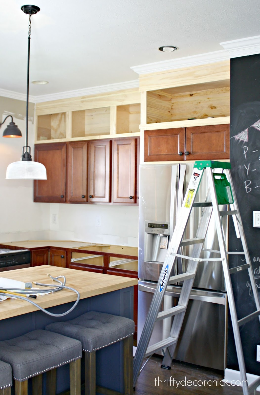 How to take kitchen cabinets to ceiling DIY