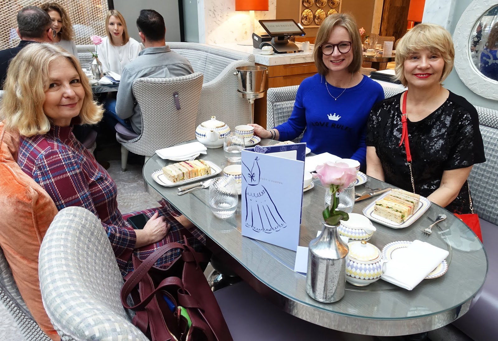 Over-50s fashion bloggers Anna from Mutton Style, Michelle from Fifty and Fabulous and Gail from Is This Mutton? enjoy afternoon tea at the Berkeley Hotel in London