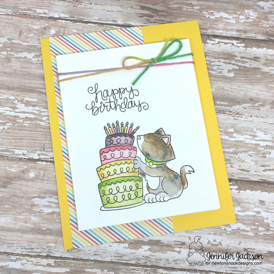 Birthday Cake & Kitty light-up card by Jennifer Jackson | Newton Loves Cake Stamp Set by Newton's Nook Designs with Chibitronics lights | #newtonsnook #chibitronics