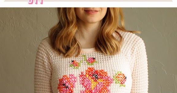 bbf4a470dfc3f0 Über Chic for Cheap  DIY  Floral Cross Stitch Sweater