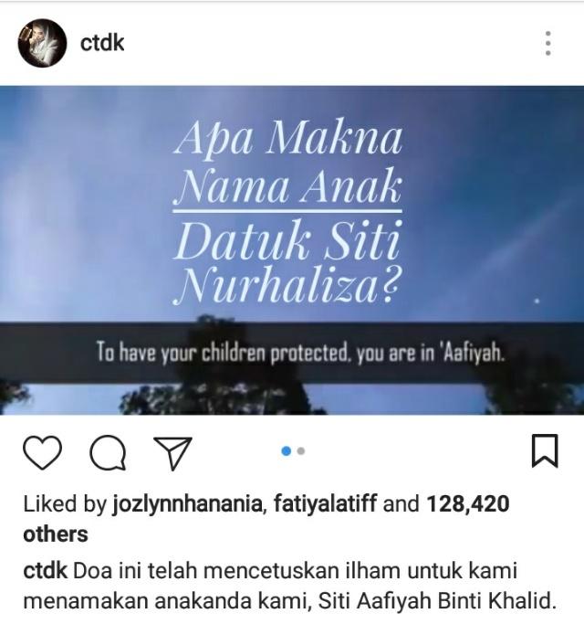 Apa Maksud Nama Anak Datuk Siti Nurhaliza?