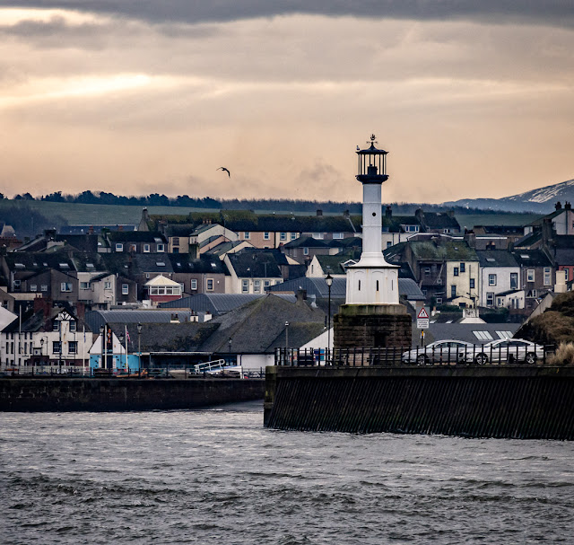 Photo of Maryport's old lighthouse at the entrance to the basin