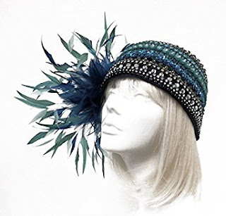 Juliet Cloche Beaded Couture Feather Estrella Turquoise Mix