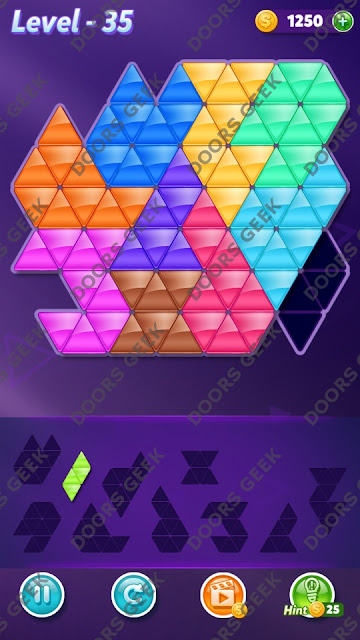 Block! Triangle Puzzle 10 Mania Level 35 Solution, Cheats, Walkthrough for Android, iPhone, iPad and iPod