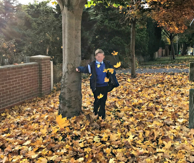 A boy playing in the leaves before school