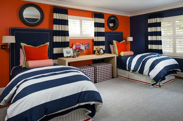 غرفة نوم كاملة للاطفال والاولاد الكبار ,بسريرين , orange color with blue