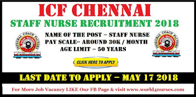 ICF Chennai Staff Nurse Recruitment 2018