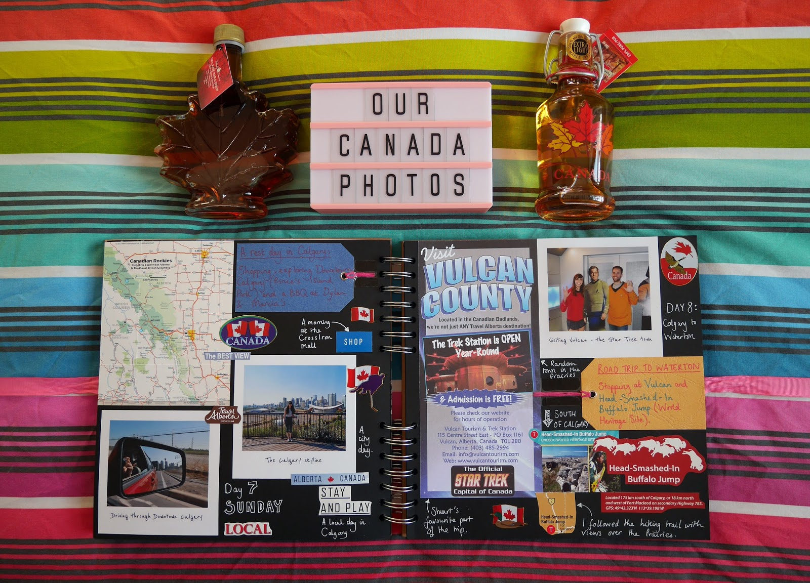 Canada travel scrapbook pages 9-10 (Calgary and Vulcan) featuring Printiki's retro prints
